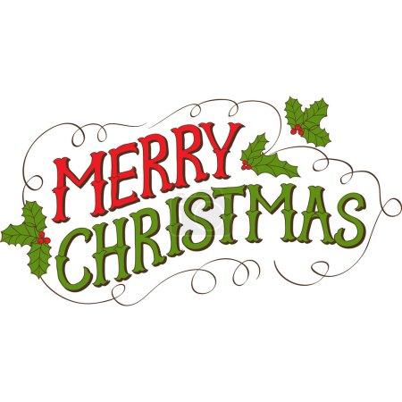 Illustration pour Carte de Noël Vintage Joyeux Noël. Lettrage vectoriel dessiné à la main . - image libre de droit