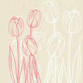 Abstract floral illustration with tulips on beige background