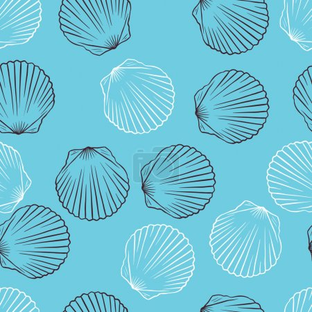 Illustration for Seamless hand drawn texture of shells. Vector Illustration. - Royalty Free Image