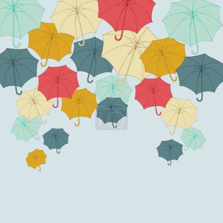 Background with collor umbrellas. Vector autumn illustration.