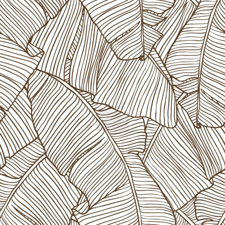 Illustration for Vector illustration leaves of palm tree. Seamless pattern. - Royalty Free Image
