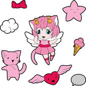 Collection of funny and cute happy kawaii characters.