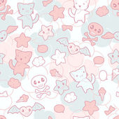 Seamless pattern with doodle Vector kawaii illustration