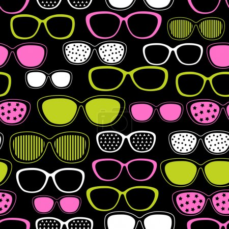 Glasses and sunglasses seamless pattern. Vector texture.
