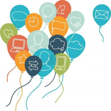 Social media, communication background with flying balloons