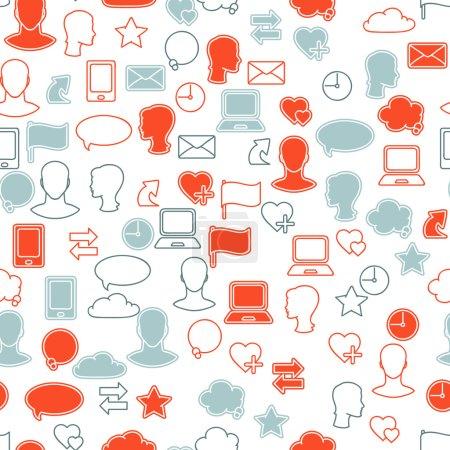 Social media network icon set seamless texture
