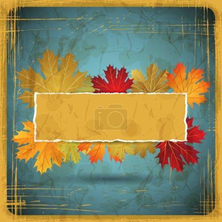 EPS10 Autumn leaves grunge background. Vector illustration.