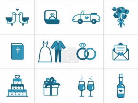 Illustration for Wedding icon set for your products and projects, easy to edit, resize and colorize - Royalty Free Image