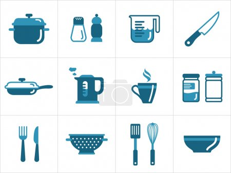 Illustration for Kitchen icons set, easy to edit, resize and colorize - Royalty Free Image