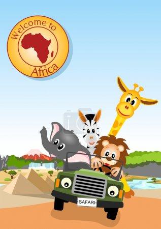Illustration for Giraffe, elephant, zebra and lion driving green car through african landscape - vector illustration - Royalty Free Image