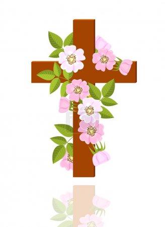 Illustration pour Croix avec des fleurs de rose sauvage sur fond blanc illustration vectorielle - image libre de droit