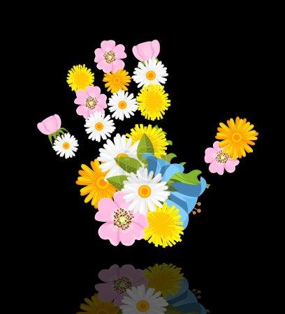 Flowers in shape of hand