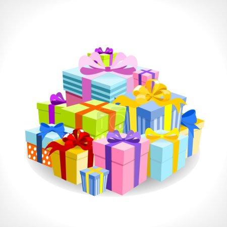 Illustration pour Pile de cadeaux colorés sur fond blanc - illustration vectorielle - image libre de droit
