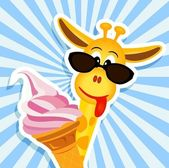 Funny giraffe with pink ice cream