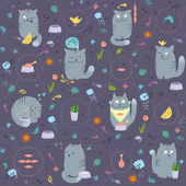 Seamless Pattern - Cats And Natural Foods