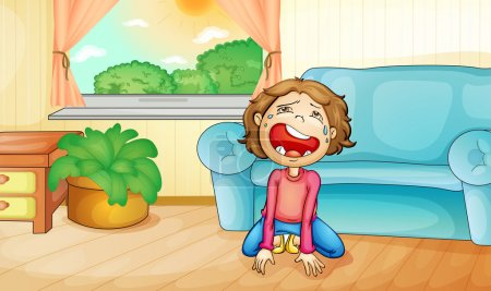 Illustration for Illlustration of a kid crying at home - Royalty Free Image