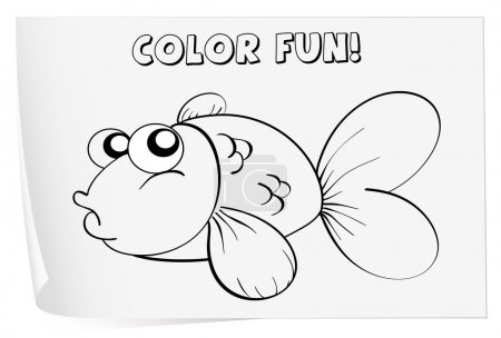 Illustration for Colour worksheet of a fish - Royalty Free Image