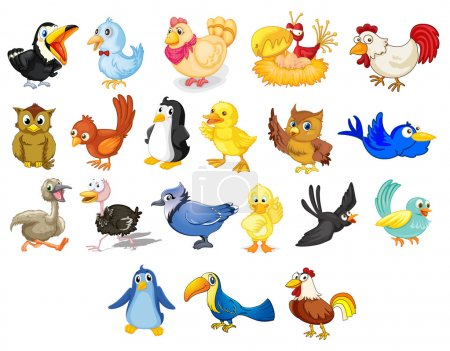 Illustration for Collection of mixed cartoon birds on white - Royalty Free Image