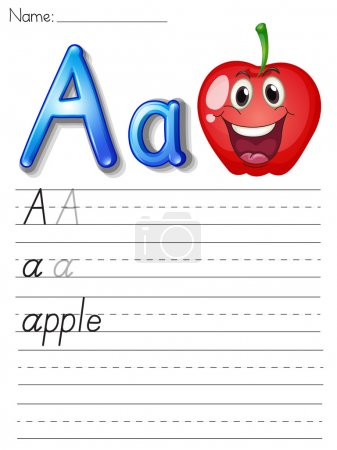 Illustration for Alphabet worksheet on white paper - Royalty Free Image