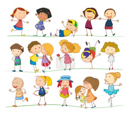 Illustration for Illustration of collection of simple kids - Royalty Free Image