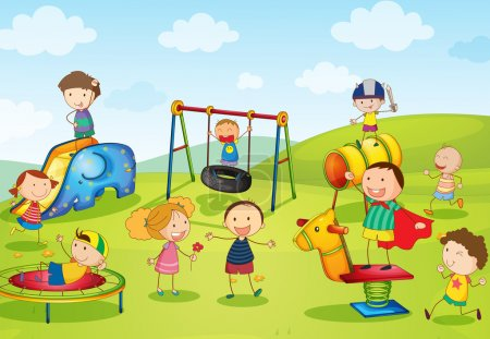 Illustration for Illustration of kids playing at the park - Royalty Free Image