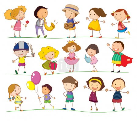 Illustration for Illustration of mixed simple kids - Royalty Free Image