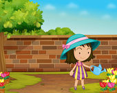 Illustration of a girl watering flowers