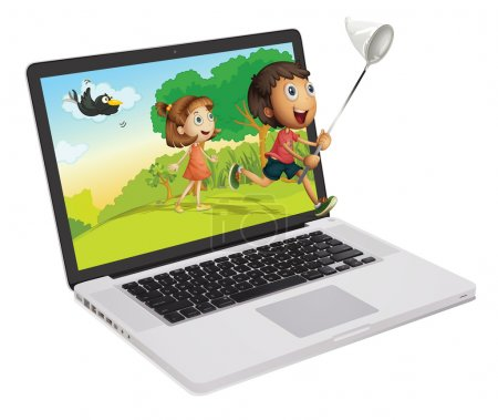 Illustration for Cute kids coming out of a computer screen - Royalty Free Image