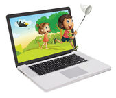 Cute kids coming out of a computer screen