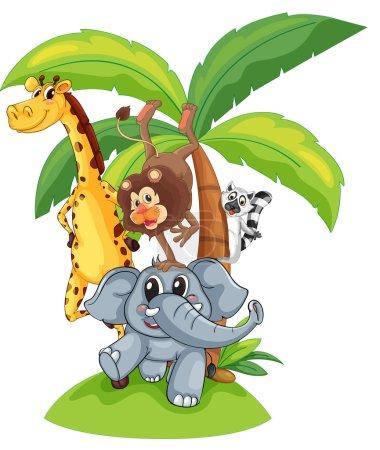 Photo pour Illustration d'animaux exotiques dans un groupe - image libre de droit