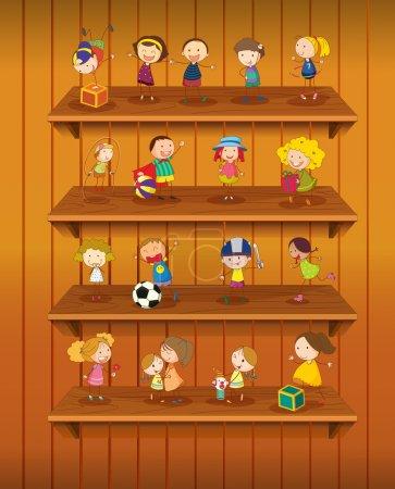 Illustration pour Illustration des jouets jouant sur les tablettes - image libre de droit