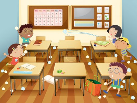 Illustration for Illustration of kids in a classroom - Royalty Free Image