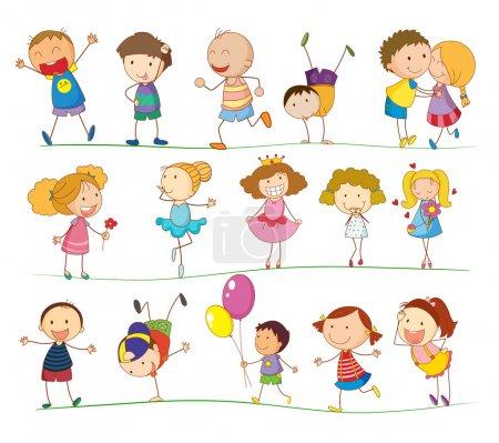 Photo pour Illustration d'un groupe d'enfants mixtes - image libre de droit