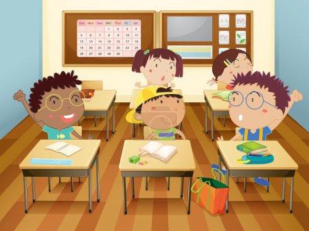 Illustration pour Illustration d'enfants en classe - image libre de droit