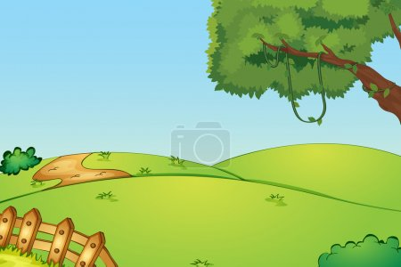 Illustration for Illustration of a field and a fence - Royalty Free Image