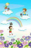 Illustration of a playing kids on clouds