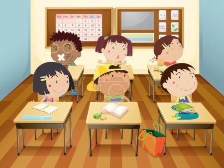 Illustration pour Illustration d'un enfant étudiant en classe - image libre de droit