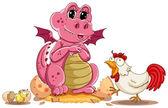 Slepice a baby dinosaur