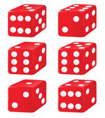 Illustration of six dice on a white background