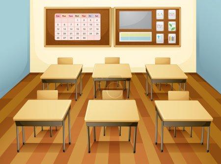 Illustration pour Illustration d'une salle de classe avec table et chaises - image libre de droit