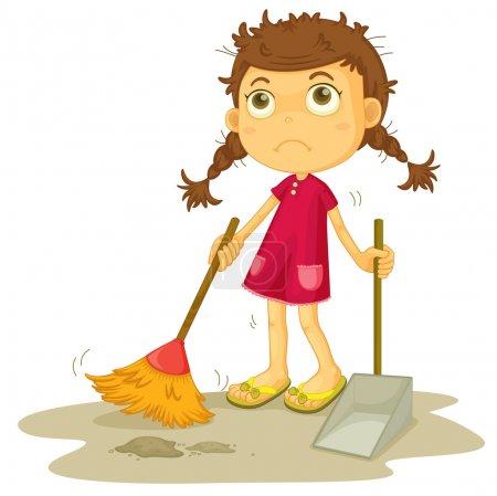 Girl cleaning floor