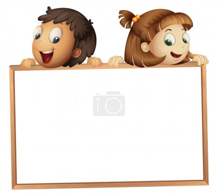 Illustration for Illustration of a kids showing board on a white background - Royalty Free Image