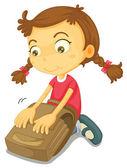 Dívka s školní batoh