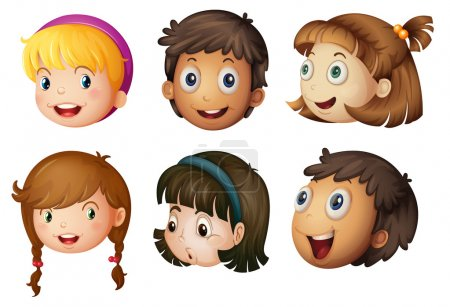 Illustration for Illustration of a kids faces on a white background - Royalty Free Image