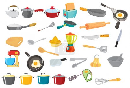 Illustration for Illustration of various utensils on a white - Royalty Free Image
