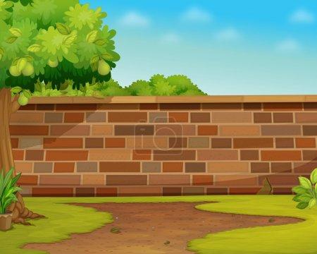 Illustration pour Illustration d'un mur de briques dans un jardin - image libre de droit