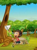 Boy running in a forest