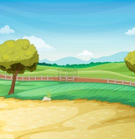 Illustration for Empty farm scene landscape illustration - Royalty Free Image