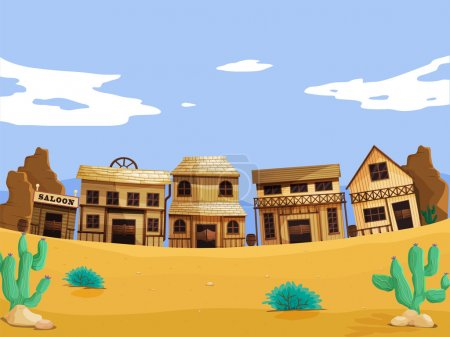 Illustration for Wild west illustration scene with detail - Royalty Free Image