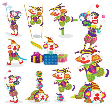 Illustration for Illustration of various activites of joker on a white - Royalty Free Image
